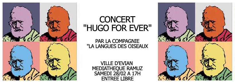 """Evian // Concert """"Hugo for ever"""" // Médiathèque Ramuz // Samedi 28 février à 17h"""
