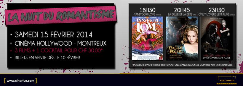 Nuit du Romantisme /// Cinéma Hollywood /// 3 séances /// 15 Février /// 18H30